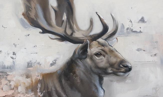 damhert in olieverf- tweeluik schilderij - jennifer koning - deel 1