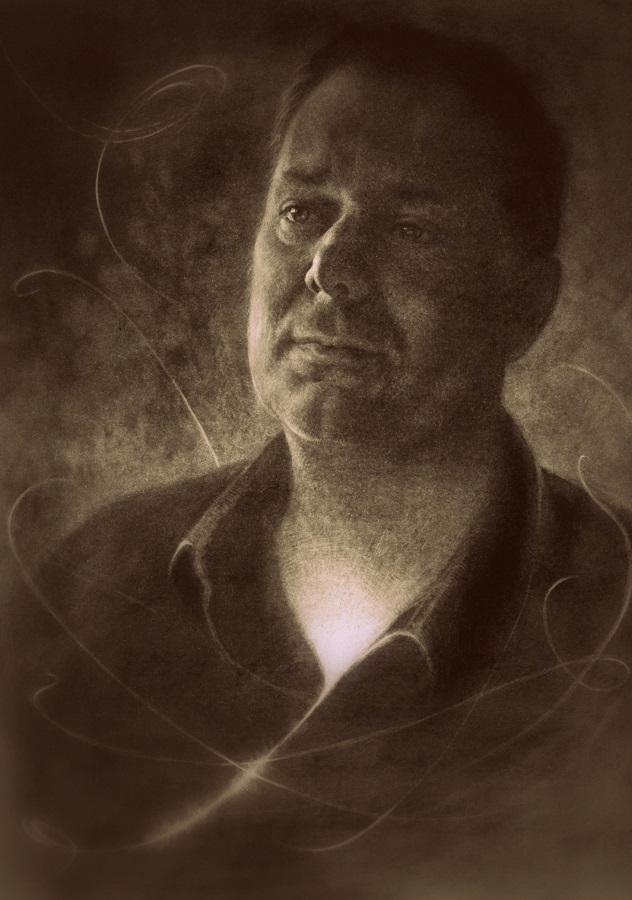 portrettekening man - johan in pastel houtskool - jennifer koning