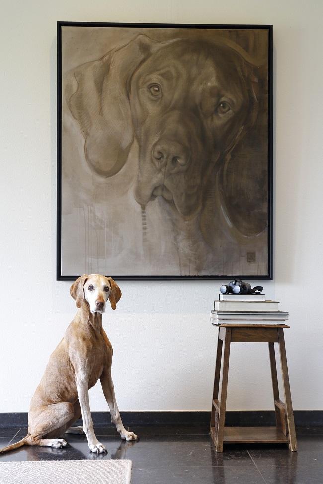 schilderij hond realistisch versus abstract groot hondenportret - jachthond schilderij - jennifer koning
