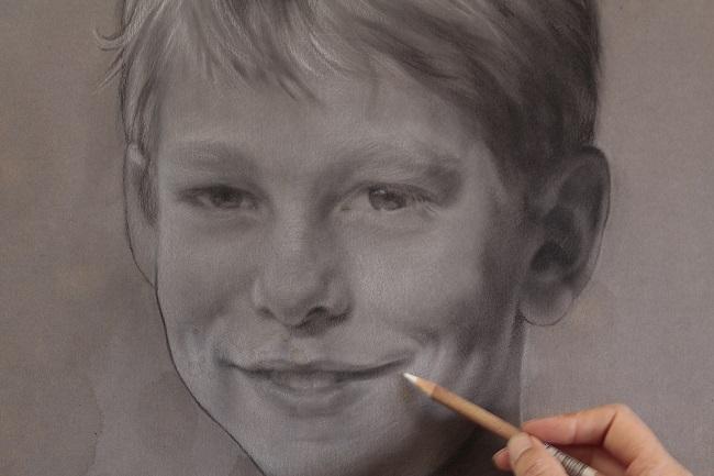 kinderportret houtskool in uitvoering jennifer koning portrettekening kind