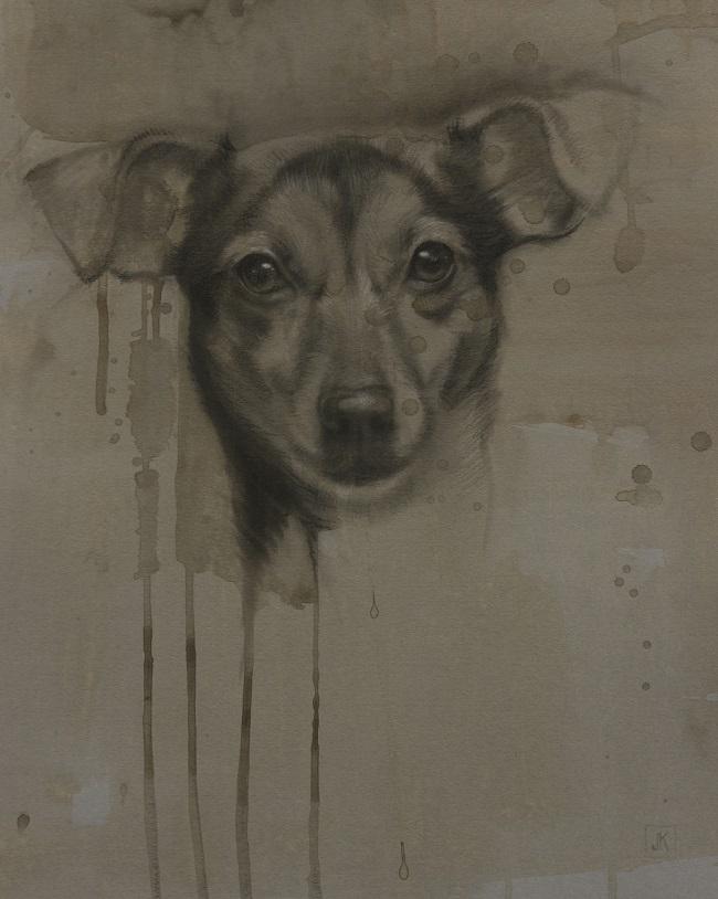 2016-hondenportret - schets van een jackrussell in houskool - door jennifer koning - miss A