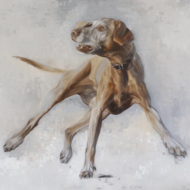 actieportret hond olieverf schilderij - vangbal apporteren - vizsla - jennifer koning