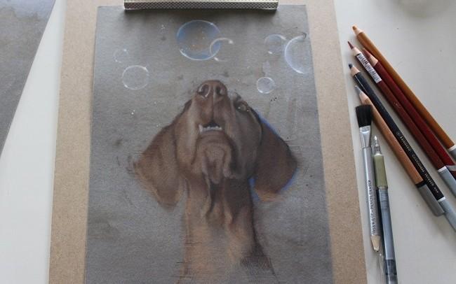 schets hond in pastel