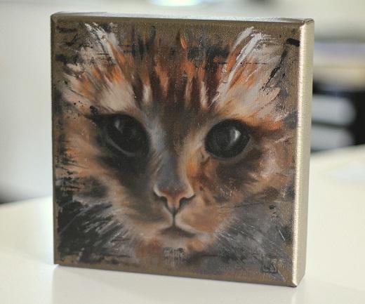 kattenportret olieverf