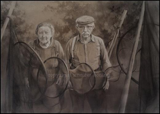 portrettekening van oude foto