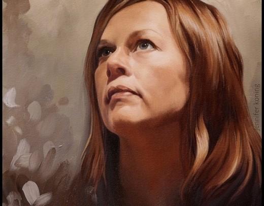 geschilderd zelfportret in olieverf