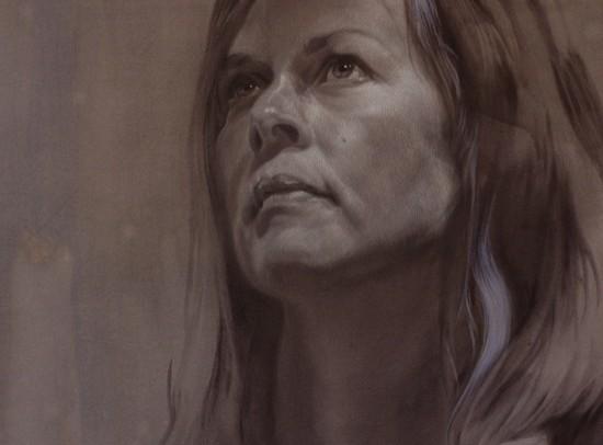 zelfportret in houtskool en krijt