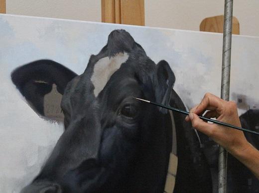 schilderij koe in uitvoering