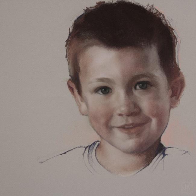 koning kinderportret in pastel stan