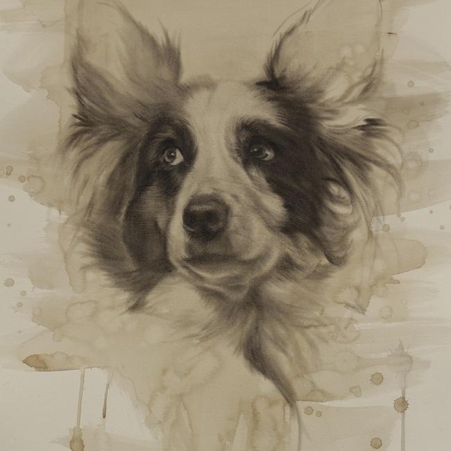 getekend portret van hond - jennifer koning