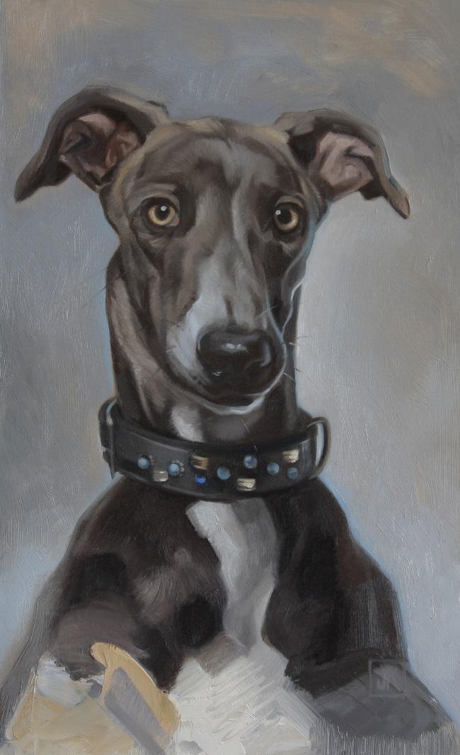 2016-hondenportret-jenniferkoning-schilderij windhond in olieverf-greyhound portrait