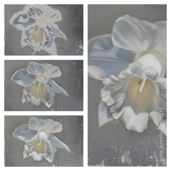allaprima bloemen schilderen in olieverf - stap voor stap - jennifer koning - narcis 1
