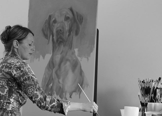 portret jachthond in uitvoering - vizsla reu - olieverf portret hondenportret - jennifer koning
