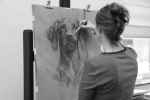 tekening hond honden - portrettekening in uitvoering - jennifer koning - sticky lips I
