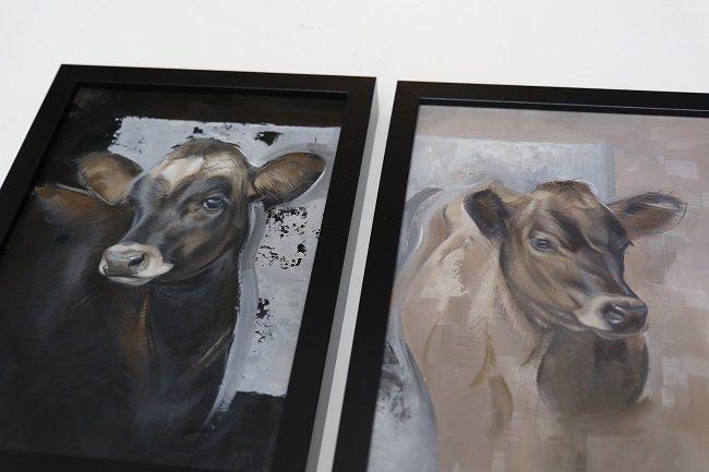 jersey kalfjes - twee portretjes in olieverf - lijst jennifer koning