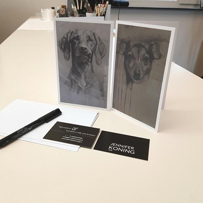 kaarten jack russel vizsla - dubbel met enveloppe - nieuwe kunstkaarten