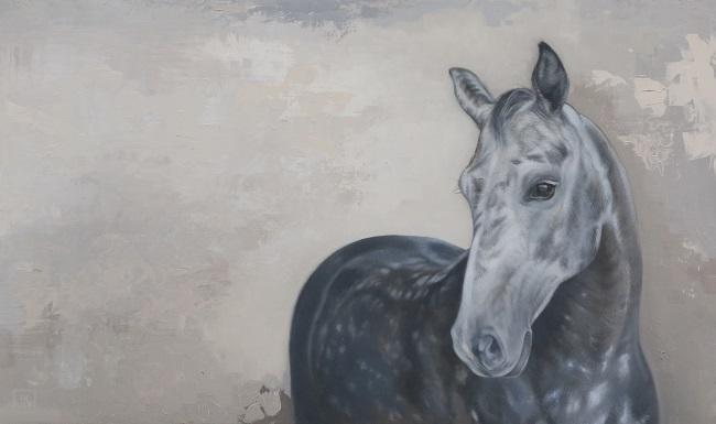 schilderij van je eigen paard - schimmel merrie kwpn - warmbloedpaard - portret olieverf - jennifer koning