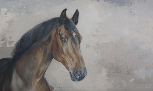 schilderij van je eigen paard - olieverf op paneel - kwpn bruin warmbloedpaard - portret - jennifer koning