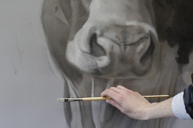 mijn koeien schilderijen - details - jennifer koning - portret in uitvoering - koeien neus