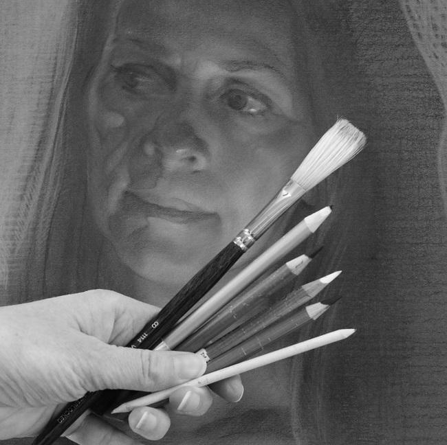 realistische portret tekening - houtskool tekenmaterialen - jennifer koning
