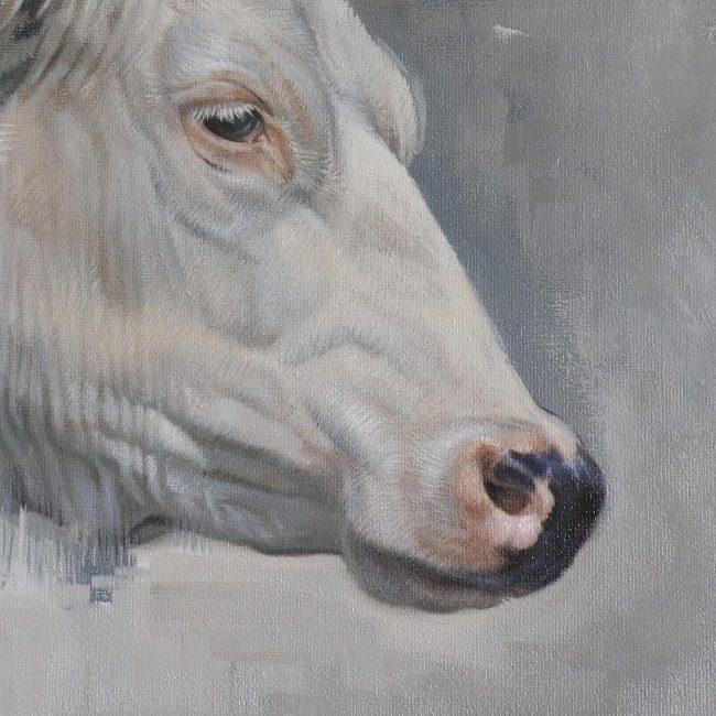 holstein koe in olieverf - ellemieke - schilderij koeien melkvee - detail - jennifer koning