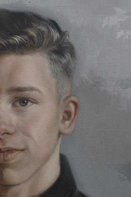 jongensportret in olieverf - detail - schilderij portret van jongen - door jennifer koning
