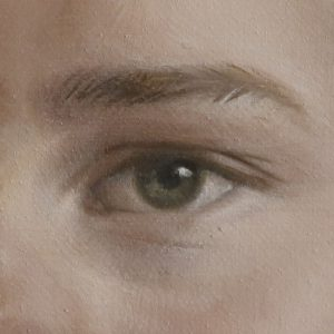jongensportret in olieverf - detail schilderij portret jongen - jennifer koning