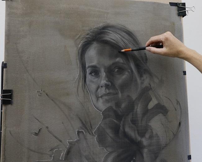 portretkunst - portret tekening mej. M in uitvoering - jennifer koning