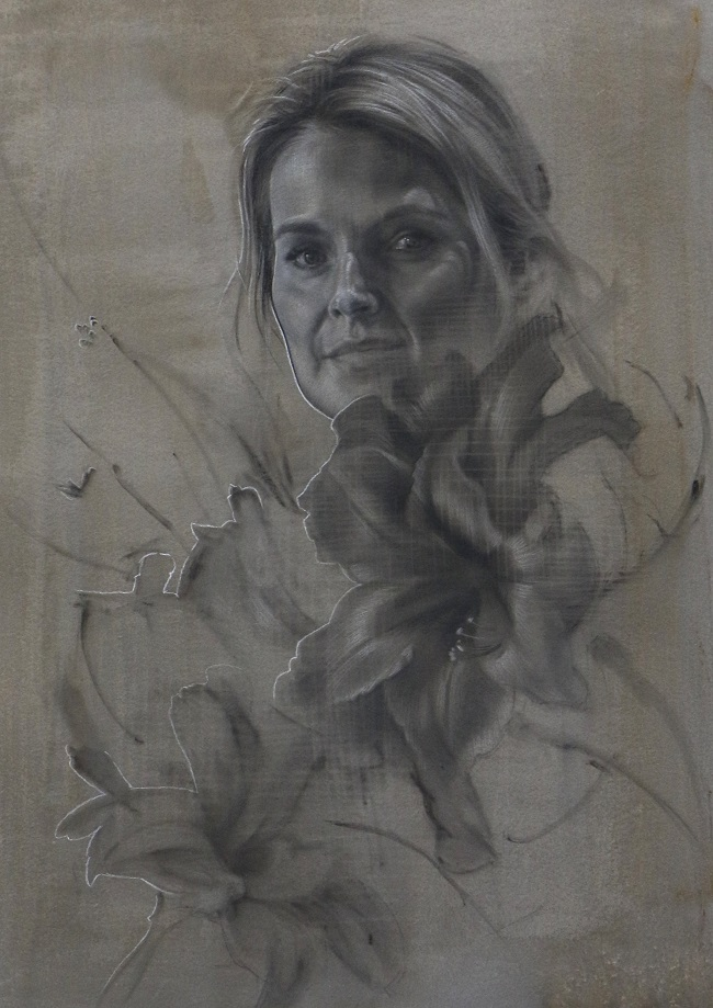 portretkunst - portret tekening in houtskool - mixed media - door jennifer koning - mej. M