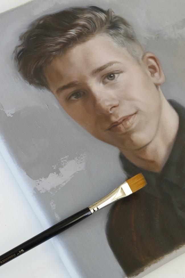 een jongensportret in olieverf - de eerste - portret schilderij jongen - jennifer koning