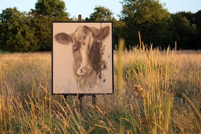 portret van een koe - gemengde technieken - jennifer koning