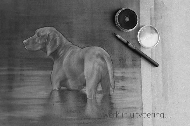 vizsla in het water detail 2- jachthonden schilderijen en beelden - jennifer koning