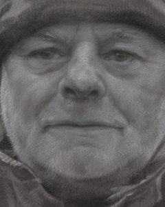 houtskool portret man met muts - detail