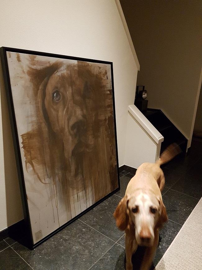 schilderij hond in natuurtinten - hondenportret - jennifer koning