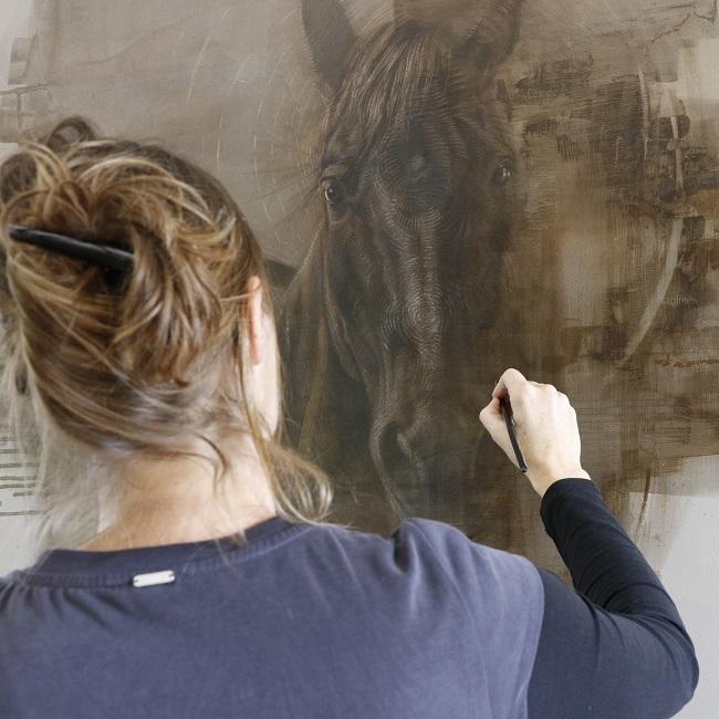 paarden schilderij in uitvoering - mixed media paard portret - jennifer koning