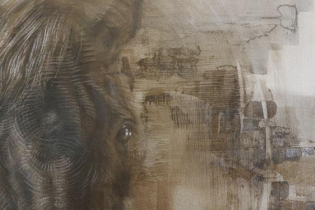 schilderij paard in uitvoering, detail