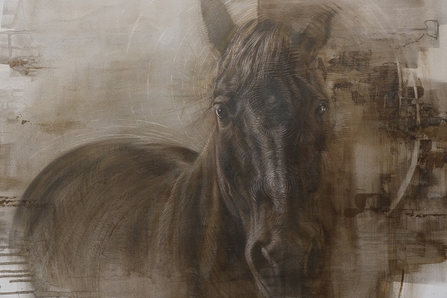 schilderji paard - gemengde technieken - naturel grijstingen - portret - jennifer koning - detail