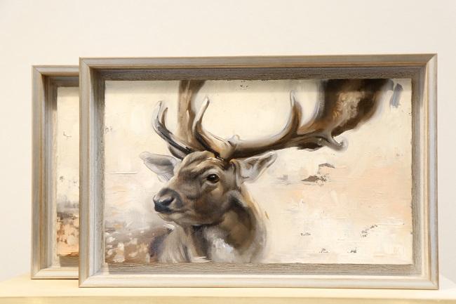 damhert in olieverf - schilderij op paneel - deel 1 - jennifer koning