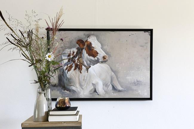 schilderij koe neeltje - middagdutje roodbonte koeien - kunst - jennifer koning