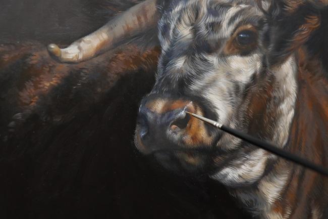 koeien schilderijen - de details in olieverf - jennifer koning - qarina detail