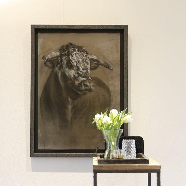 schilderij stier - gemengde technieken - te koop