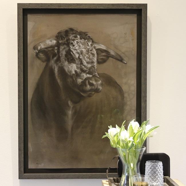 portret schilderij stier ingelijst - jennifer koning
