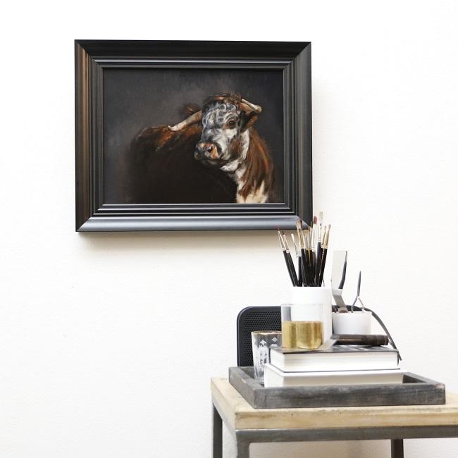 portret engelse longhorn olieverf - koe koeien kunst - ingelijst - jennifer koning