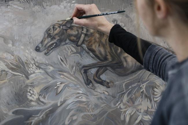 je hond vereeuwigd op doek - windhonden olieverf - uitvoering - jennifer koning
