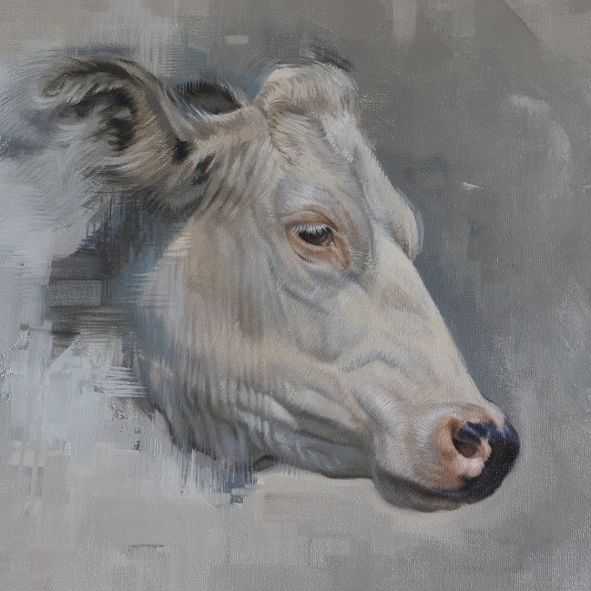 schilderij koe ellemieke koeienkop in olieverf