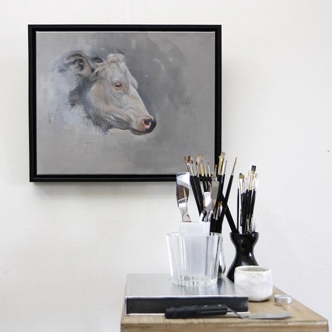 schilderij koeienkop - detail - jennifer koning - tk