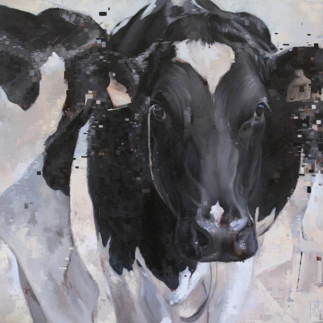 melkkoe zwartbont - schilderij olieverf - tk koeienkunst te koop