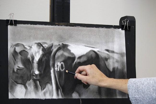 nieuwsgierige koeien - tekening in uitvoering