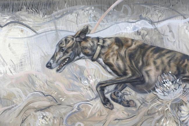 schilderij windhonden - greyhound whippet  galgo art - olieverfportret hond - detail