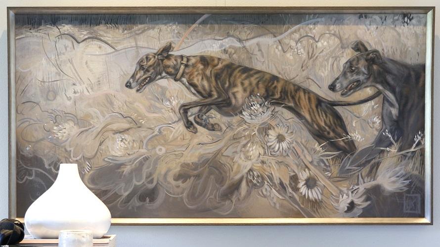 coursing - twee greyhounds in olieverf - schilderij ingelijst - jennifer koning